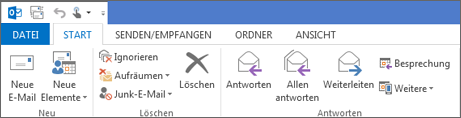 So sieht das Menüband in Outlook 2013 aus.