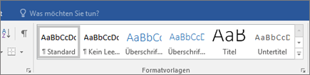 "Office 365 Word – Formatvorlagen auf der Registerkarte ""Start"""