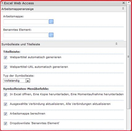 Markieren Sie das Excel Web Access-Webpart im Toolbereich, und geben Sie Eigenschaften hierfür ein.