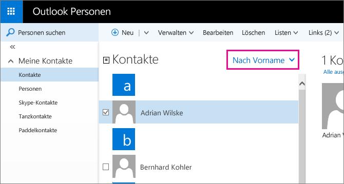 """Screenshot der Outlook-Seite """"Personen"""", die ein Popup für das Filtermenü im mittleren Bereich enthält. Das Popup zeigt den Standardnamen des Menüs an, der """"Nach Vorname"""" lautet."""