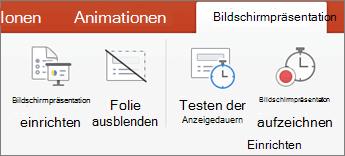 Klicken Sie auf der Registerkarte ' Bildschirmpräsentation '