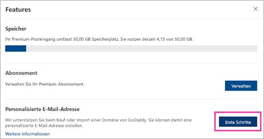 """Screenshot der Schaltfläche """"Erste Schritte"""" im Premium-Dashboard"""