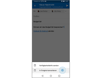 """E-Mail-Nachricht, Option """"In Ereignis konvertieren"""" hervorgehoben"""