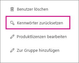 Setzen Sie die Kennwörter für mehrere Benutzer zurück.