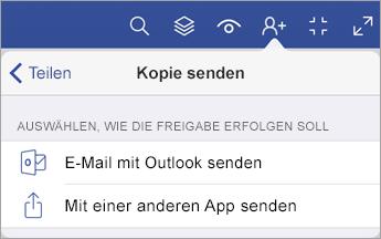 """Menü """"Kopie senden"""" mit zwei Optionen zum Freigeben einer Datei: per E-Mail mit Outlook oder durch Senden mit einer anderen App."""