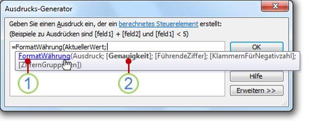 Die QuickInfo-Anzeige für eine Funktion
