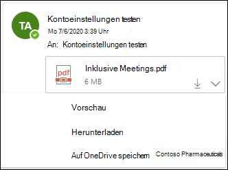 Dropdownmenü zum Speichern einer Anlage auf OneDrive.