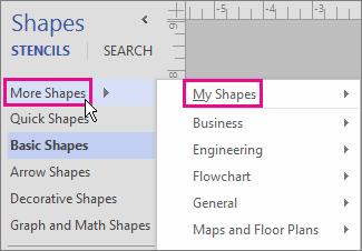 """Klicken Sie auf """"Weitere Shapes"""", und zeigen Sie dann auf """"Meine Shapes"""", um Ihre Schablonen anzuzeigen."""