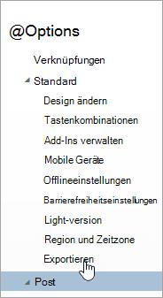 "Ein Screenshot der Option ""Exportieren"" im Optionsmenü"
