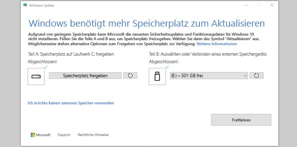 """Nachricht """"Windows benötigt für Updates mehr Speicherplatz"""""""