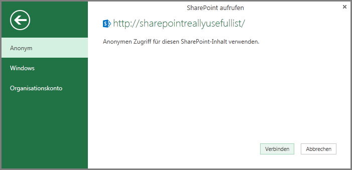 Credentials for a SharePoint List