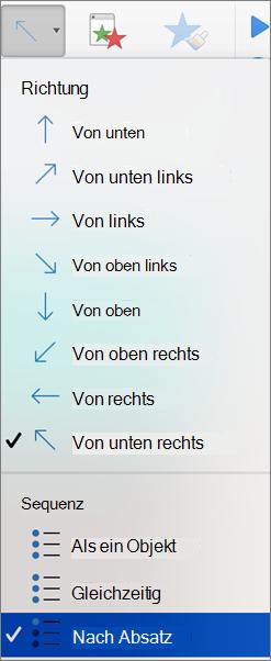 """Auswählen der Option """"nach Absatz"""""""