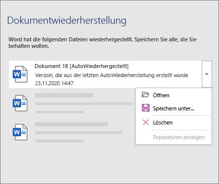 """AutomatischWiederhergestellt-Datei im Bereich """"Dokumentwiederherstellung"""""""
