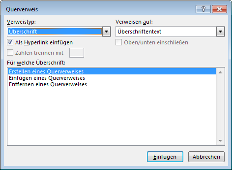 "Dialogfeld ""Querverweis"" in Word"