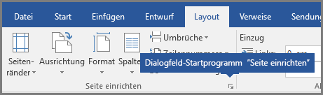 """Das Dialogfeld-Startprogramm für """"Seite einrichten"""" in Word."""