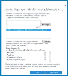 Eine Grafik des Dialogfelds 'Berechtigungen für den Metadatenspeicher festlegen' in BCS von SPO.