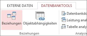 Befehl 'Beziehungen' auf der Registerkarte 'Datenbanktools'