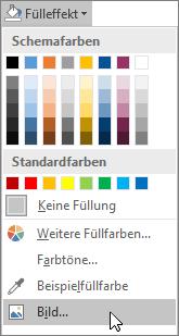 """Screenshot der Option """"Bildausfüllung"""" unter """"Fülleffekt"""" auf der Registerkarte """"Format"""" in Publisher."""