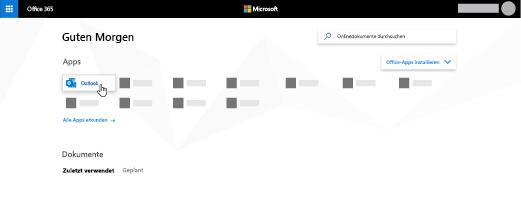 Die Office365-Startseite, auf der die Outlook-App hervorgehoben ist