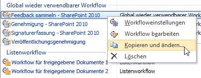 Kopieren und Ändern eines Workflows