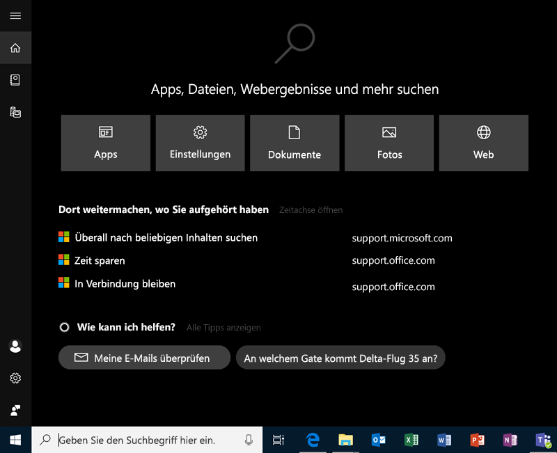 Suche in Windows 10