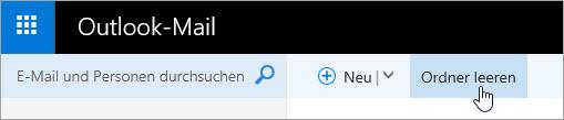 """Screenshot der Schaltfläche """"Ordner leeren"""""""