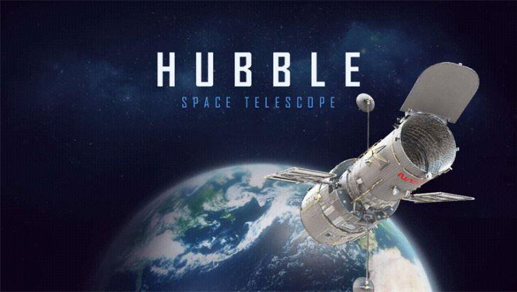 Screenshot des Th Ecover einer Präsentation zum Hubbble-Teleskop