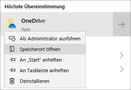 """Screenshot des Kontextmenüs im Startmenü mit ausgewählter Option """"Dateispeicherort öffnen""""."""