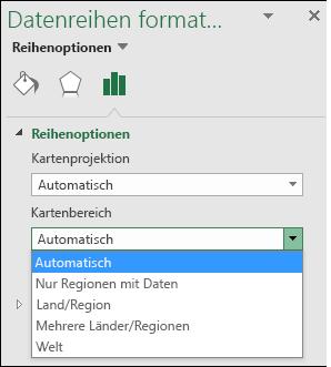 Excel-Kartendiagramm, Optionen im Kartenbereich