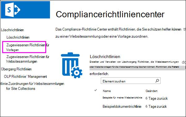 """Link """"Richtlinienzuweisungen für Vorlagen"""""""
