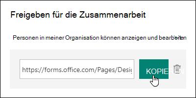 """Link mit der URL für das Formular zur Zusammenarbeit neben den Schaltflächen """"Kopieren"""" und """"Löschen"""""""