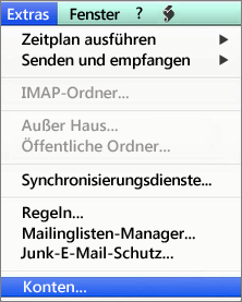 Outlook für Mac – Extras > Konten