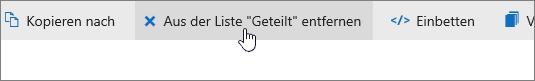 """Der Screenshot zeigt die Schaltfläche """"Aus der Liste 'Geteilt' entfernen"""" auf OneDrive.com."""