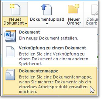 Befehl 'Dokumentenmappe' im Menü 'Neues Dokument'