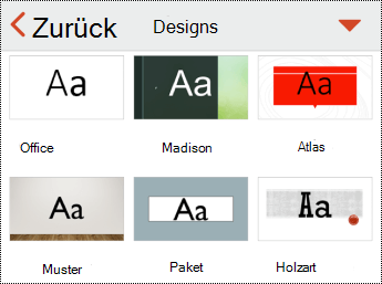 "Menü ""Designs"" in PowerPoint für iOS"
