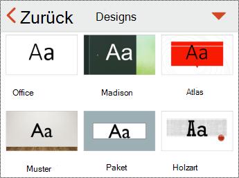 """Menü """"Designs"""" in PowerPoint für IOS"""