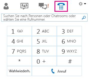 Bildschirmfoto der Wähltastatur, um einen Kontakt anzurufen