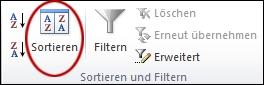 """Befehl """"Sortieren in der Gruppe """"Sortieren und Filtern"""" auf der Registerkarte """"Daten"""" in Excel"""