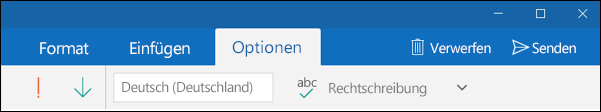 "Registerkarte ""Optionen"" in Outlook-Mail-App"