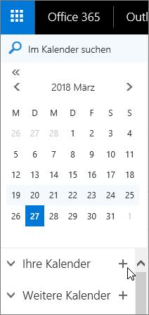 Ein Screenshot zeigt die Bereiche Kalender und andere Kalender des Kalender Navigationsbereichs.