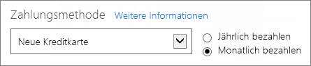 """Abschnitt """"Zahlungsmethode"""" auf der Seite """"Wie möchten Sie bezahlen?"""" mit den Optionen für jährliche und monatliche Zahlung."""