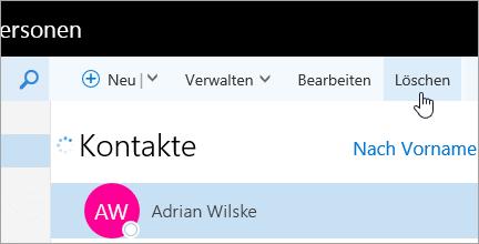 """Ein Screenshot der Schaltfläche """"Löschen"""" unter der Navigationsleiste von Outlook."""