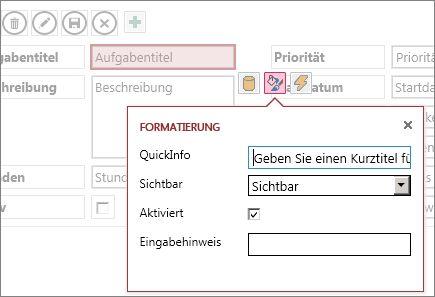 Eine Ansicht im Bearbeitungsmodus mit den Formateinstellungen für ein Textfeld