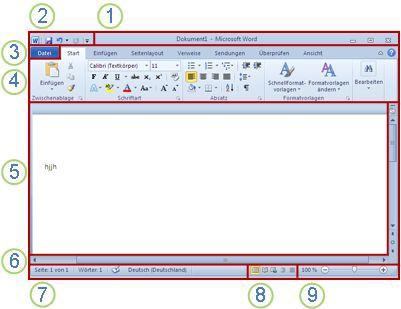 Elemente im Word-Fenster