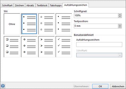 """Registerkarte """"Aufzählungszeichen"""" mit verschiedenen Aufzählungszeichenformaten in Visio."""