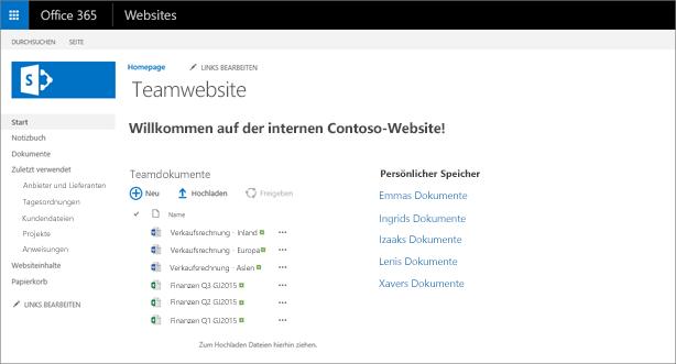 Eine Teamwebsite mit Links zu persönlichen OneDrive-Ordnern.