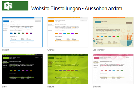 """Ändern Sie das Menü """"aussehen"""" mit Website Designs in Project online."""