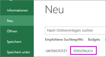 """Klicken Sie auf """"Neu"""" und """"Persönlich"""", um Ihre neue Vorlage zu finden."""