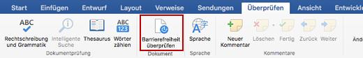"""Screenshot des Menübands """"Überprüfen"""" mit Symbol """"Barrierefreiheit überprüfen"""""""