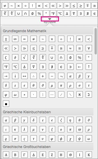 """Auf der Registerkarte """"Formel"""" wird eine Liste aller verfügbaren Symbole angezeigt."""